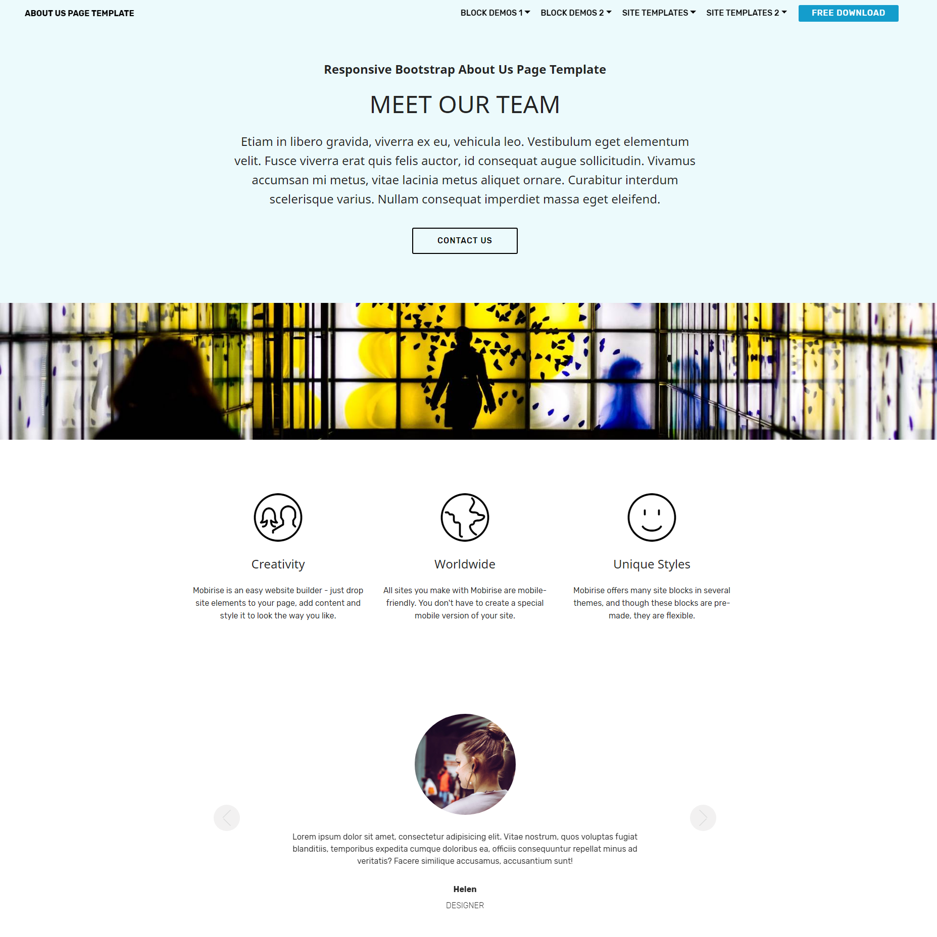 HTML5 Bootstrap About Us Templates