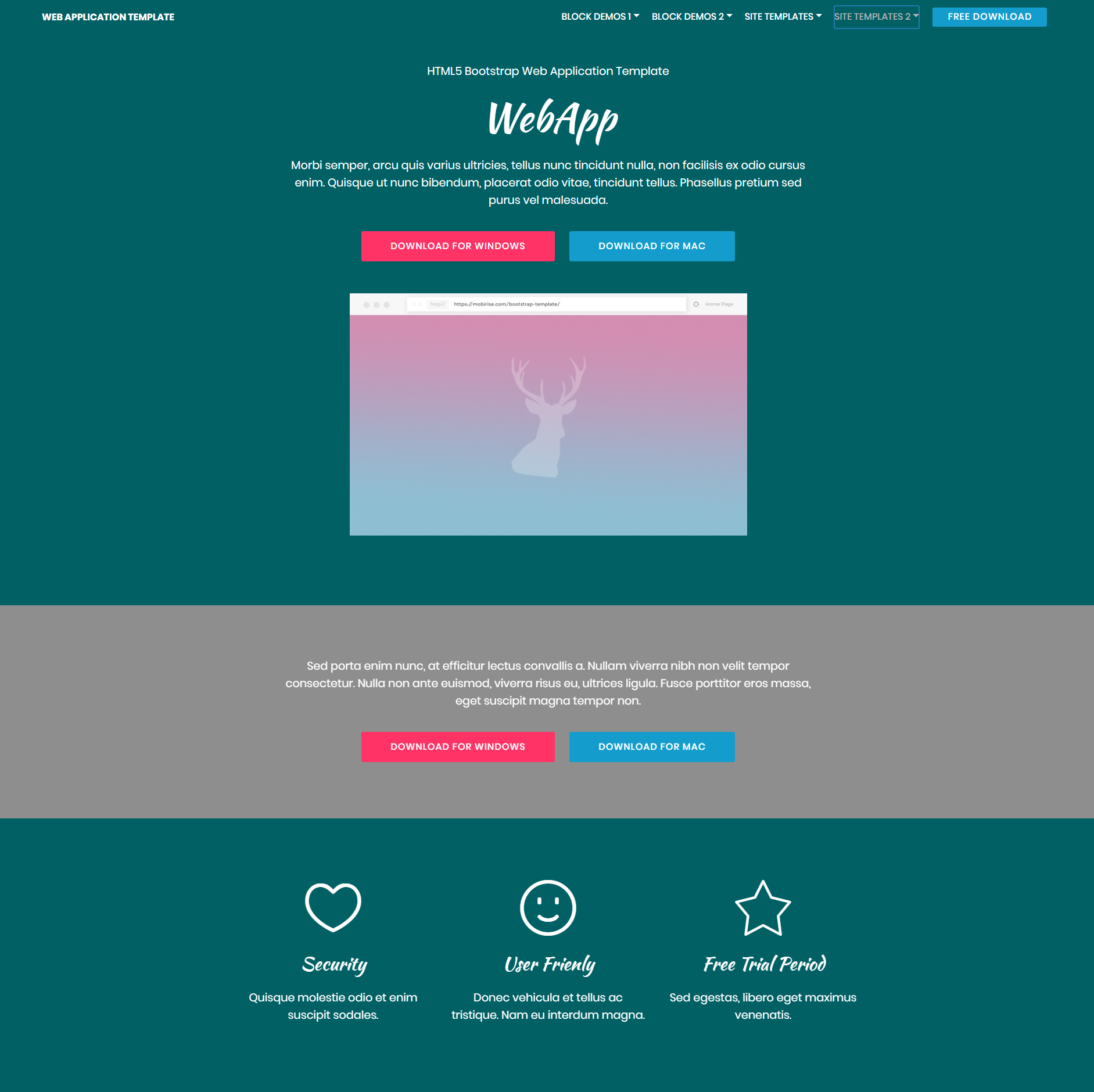HTML5 Bootstrap Web Application Themes Free Template Download