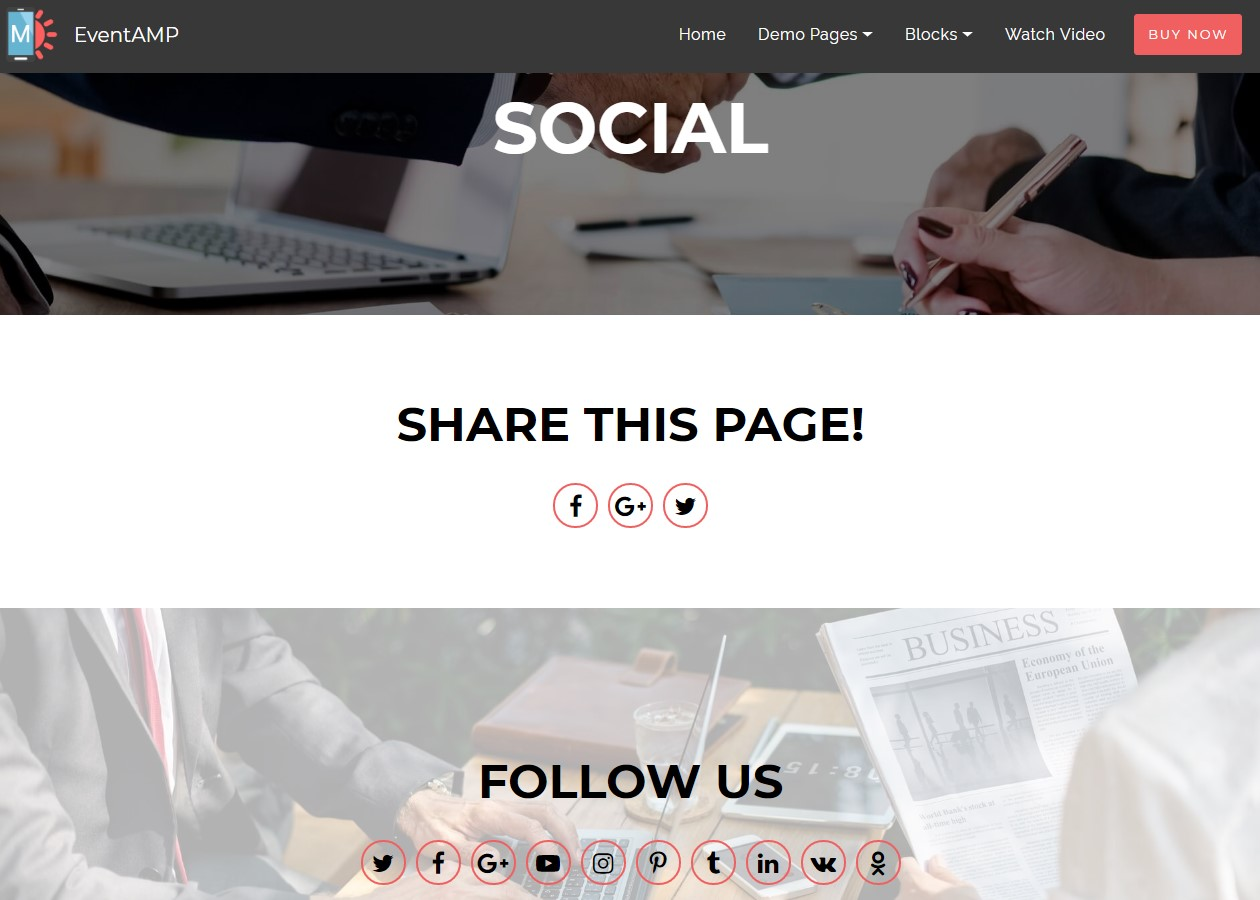 EventAMP HTML Social Templates