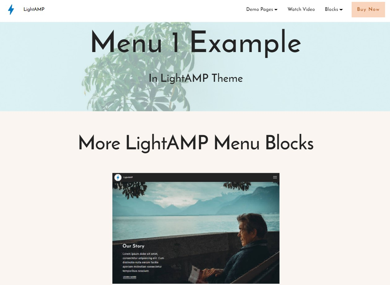 LightAMP Menu Page Template