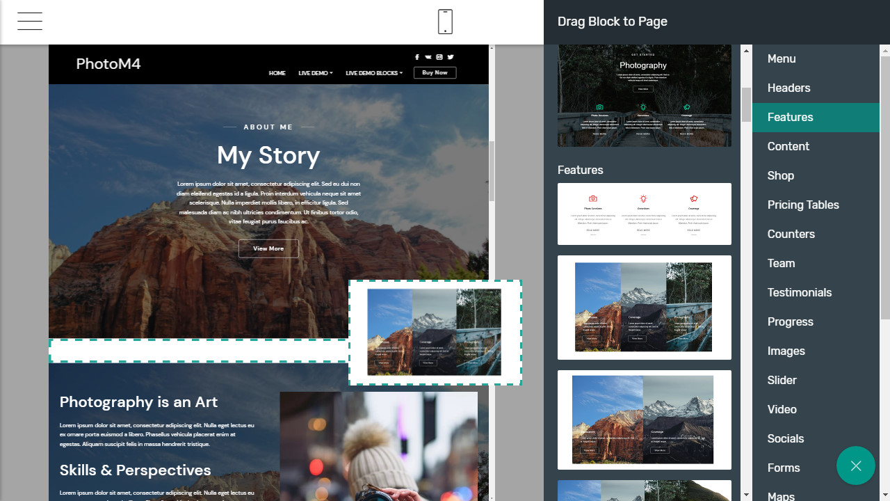 Bootstrap 4 photography template