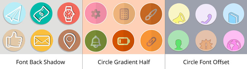 font back shadow icon, circle gradient half icons, circle font offset square icon generator