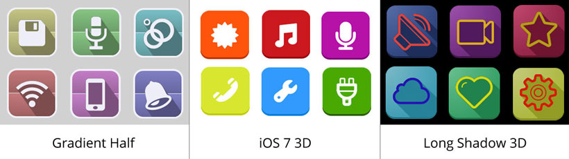 Gradient Half Icon, Ios 7 3d Icons, Long Shadow 3d App Icon Generator