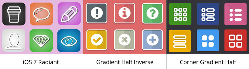 ios 7 radiant icon, gradient half inverse icons, corner gradient half iphone icon maker