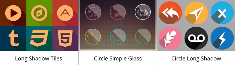 long shadow tiles icon, circle simple glass icons, circle long shadow app icon maker