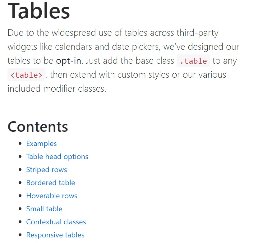 Bootstrap tables  main  information