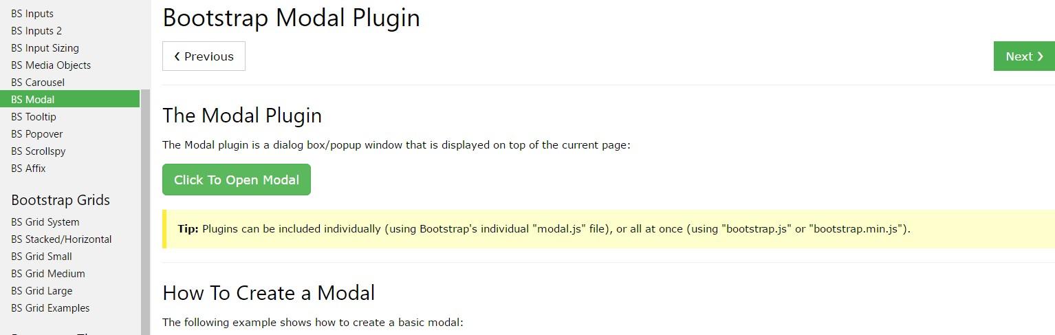 Bootstrap Modal Popup:  short training  information