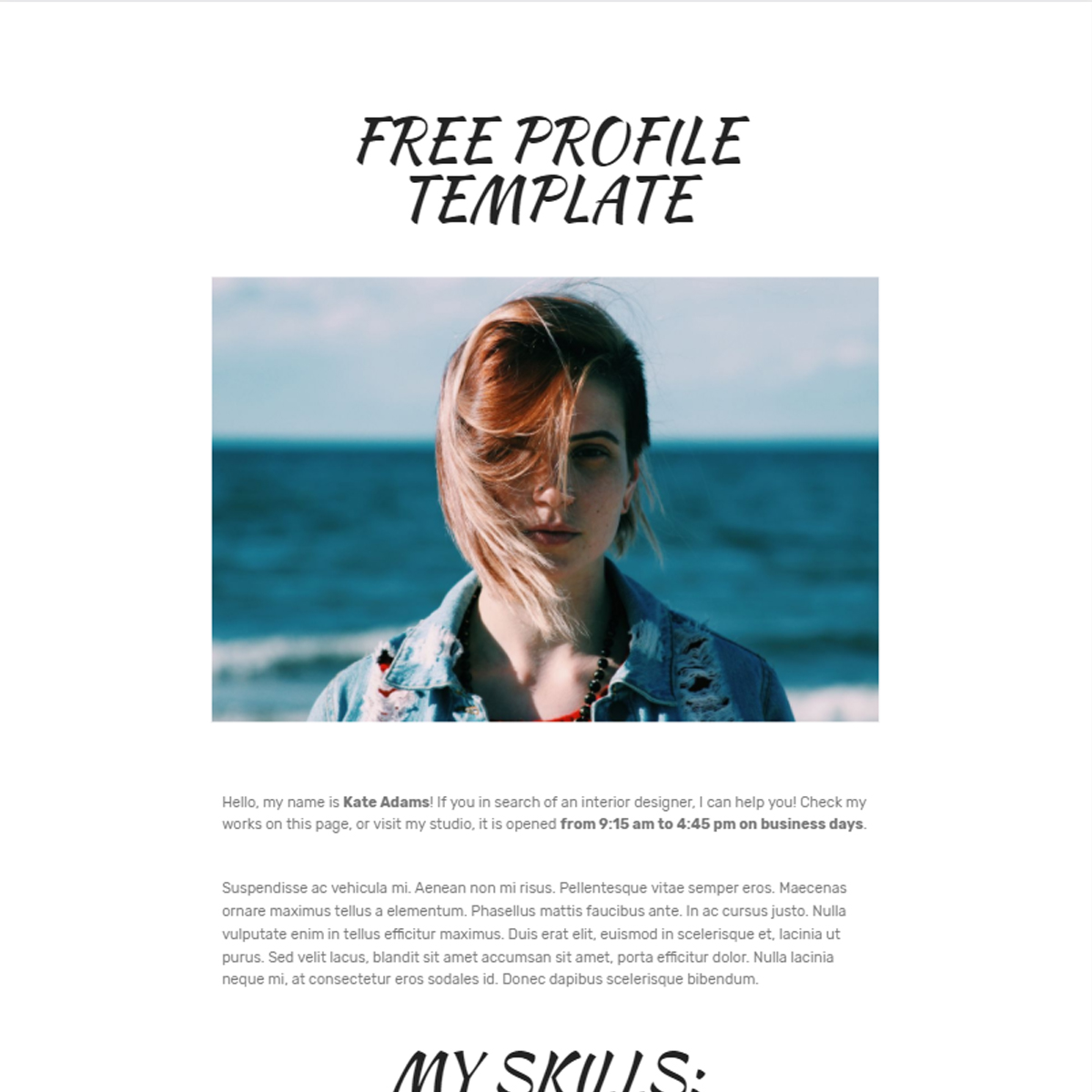 Free Download Bootstrap Profile Themes