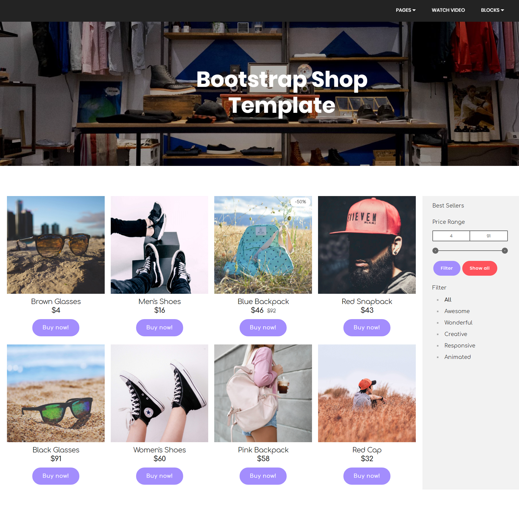 CSS3 Bootstrap Shop Themes
