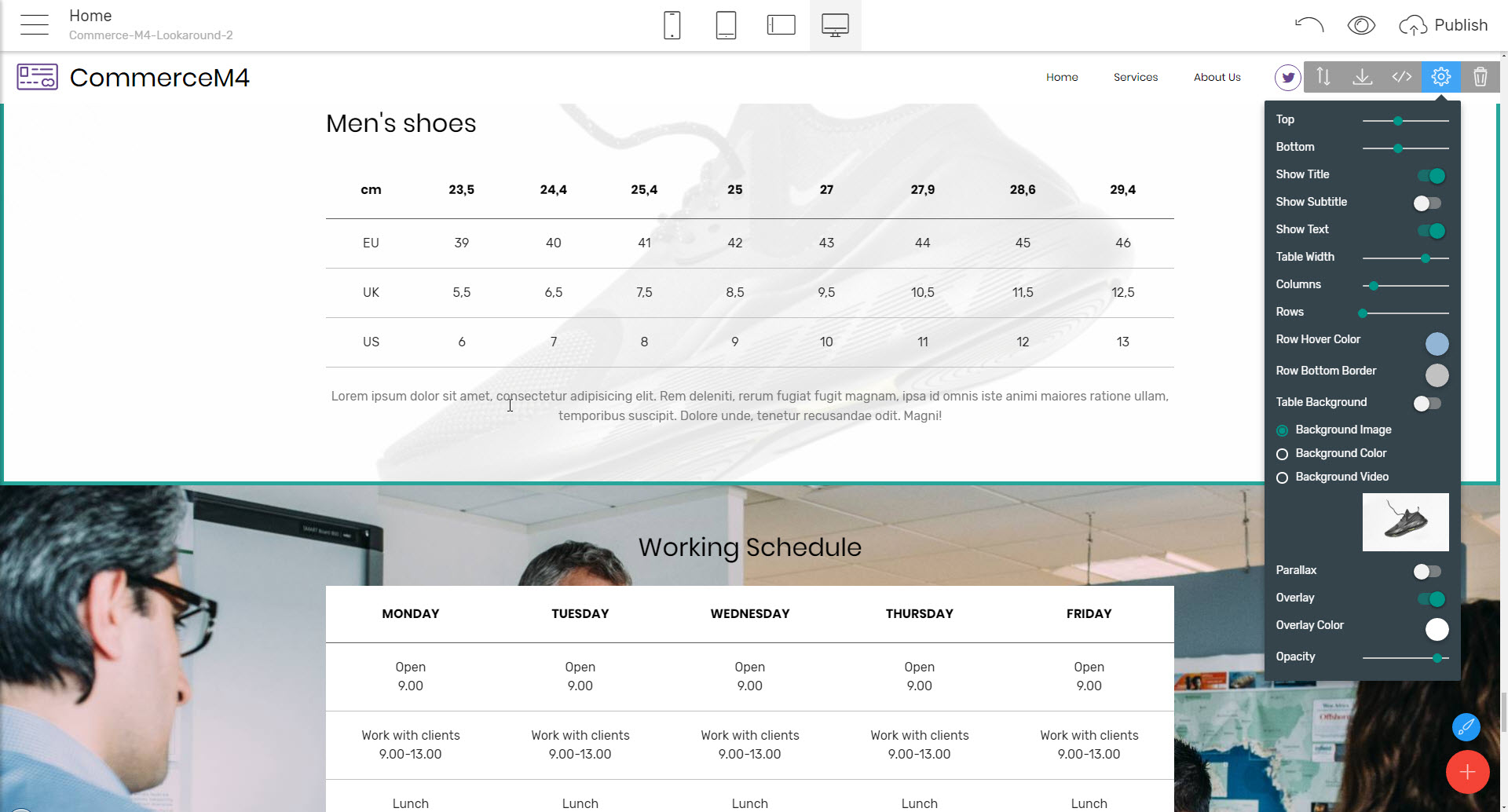 online shopping HTML template - sizing tables