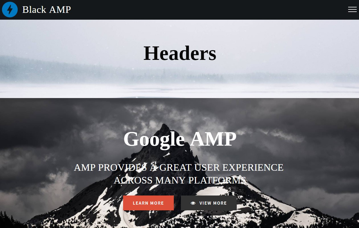 Responsive AMP HTML Headers
