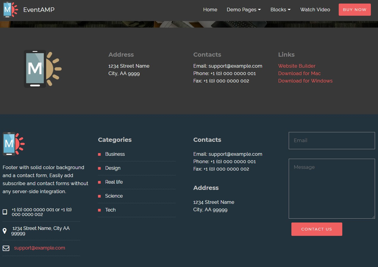 EventAMP HTML Footers Templates