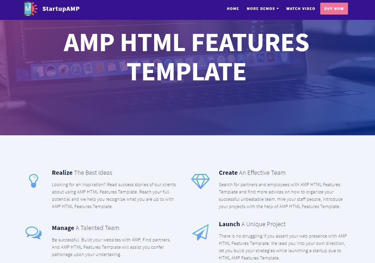 Startup AMP HTML Features Template