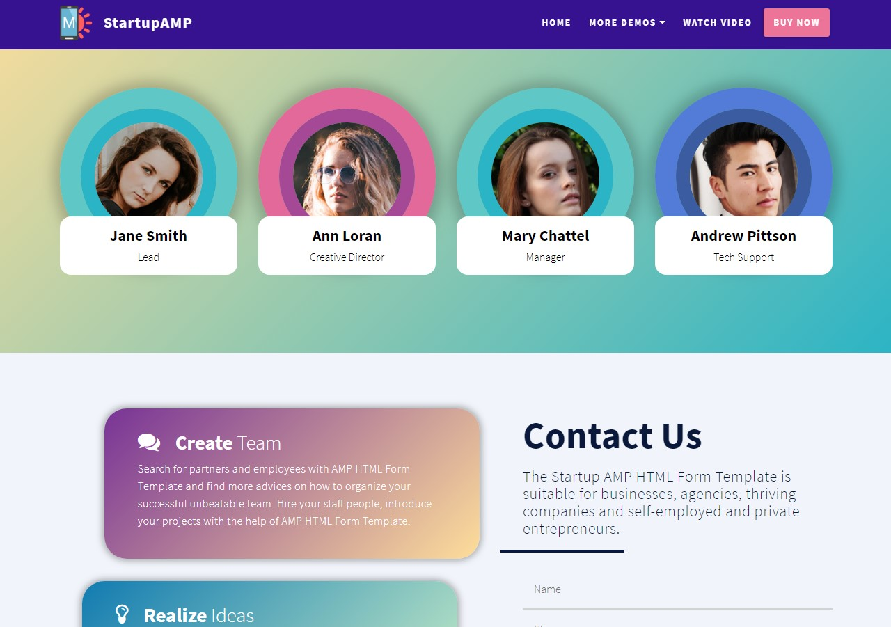 New Startup AMP HTML Form Template