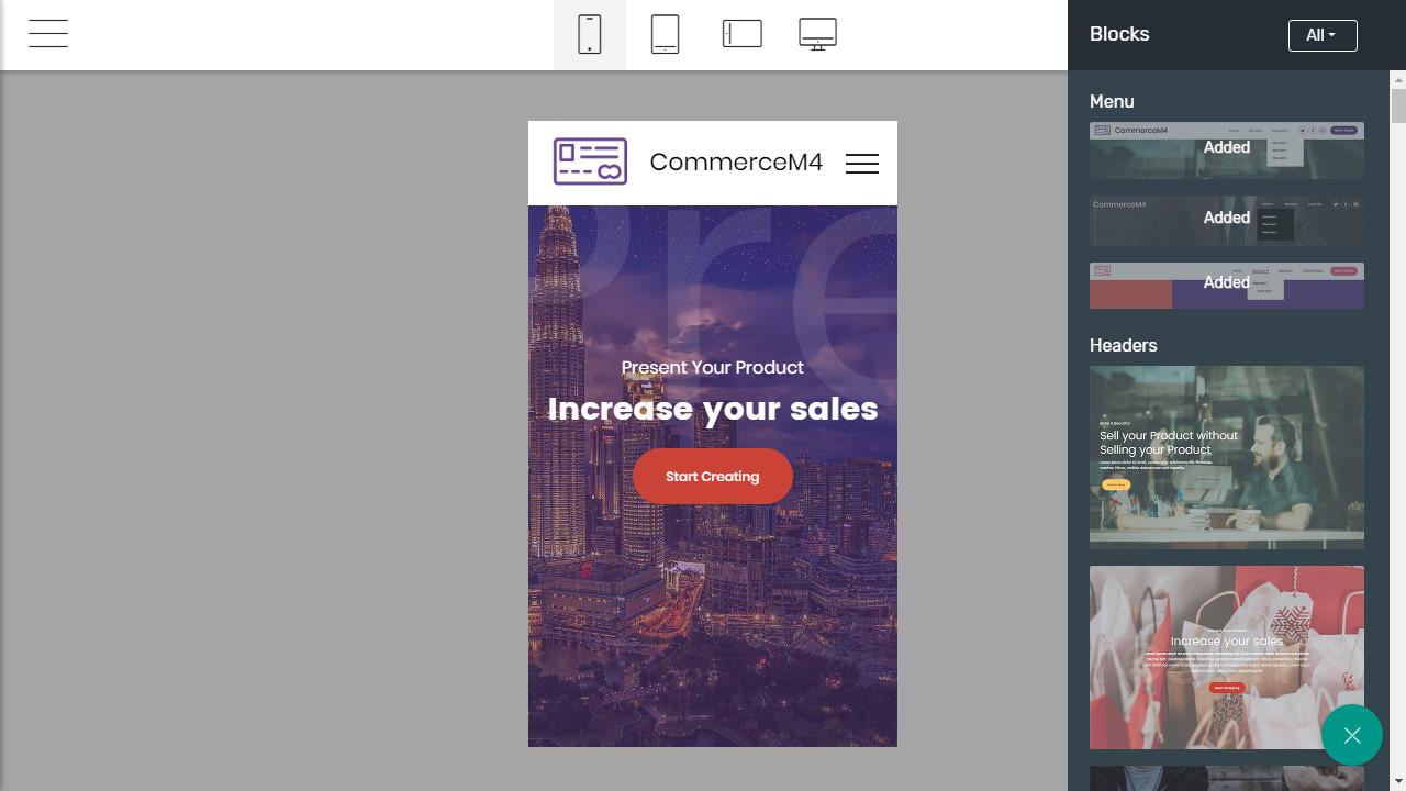 mobirise website builder mobile app